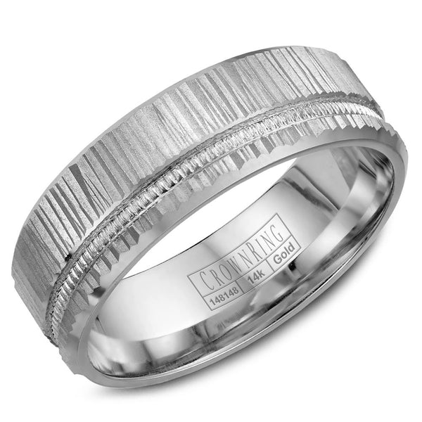 CrownRing Carved Collection 7MM Wedding Band with Bark Finish and Miligrain Detailing WB-7924