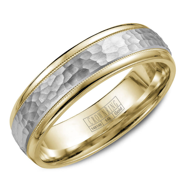 CrownRing Carved Collection 6MM Wedding Band with Textured Finish and Miligrain Detailing WB-7926