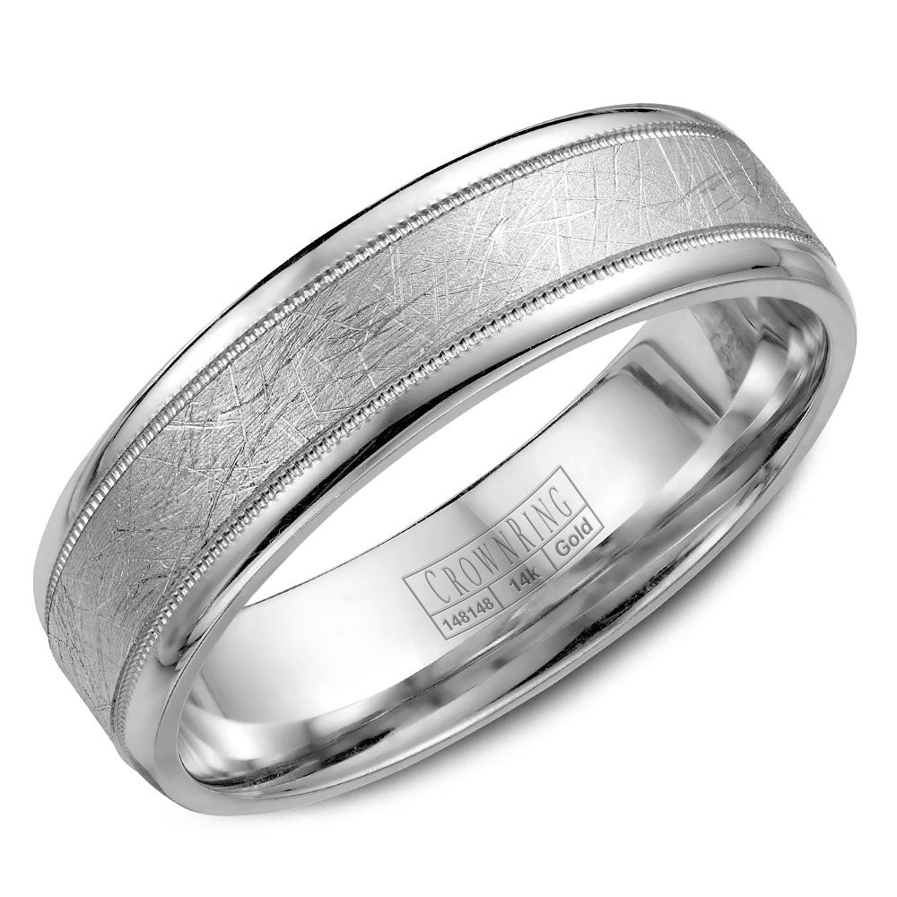 CrownRing Carved Collection 6MM Wedding Band with Textured Center and Milgrain Detailing WB-7927