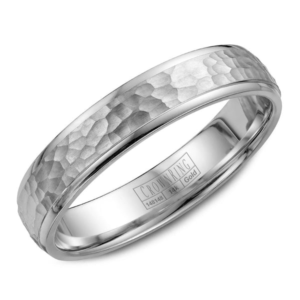 CrownRing Carved Collection 4.5MM Wedding Band with Textured Center WB-7930