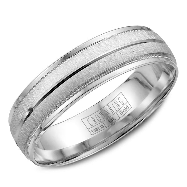 CrownRing Carved Collection 6MM Wedding Band with Miligrain and Line Detailing WB-7933
