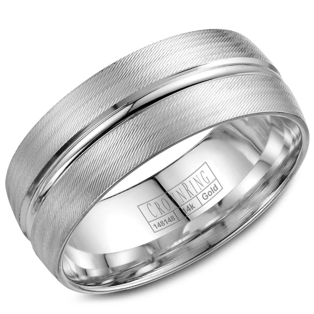 CrownRing Carved Collection 8MM Wedding Band with Textured Finish and Line Detailing WB-7934