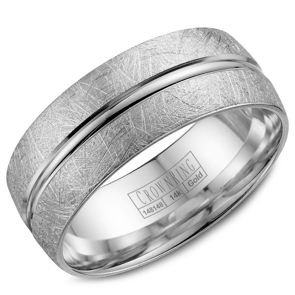 CrownRing Classic Collection 8MM Wedding Band with Textured Finish WB-7935