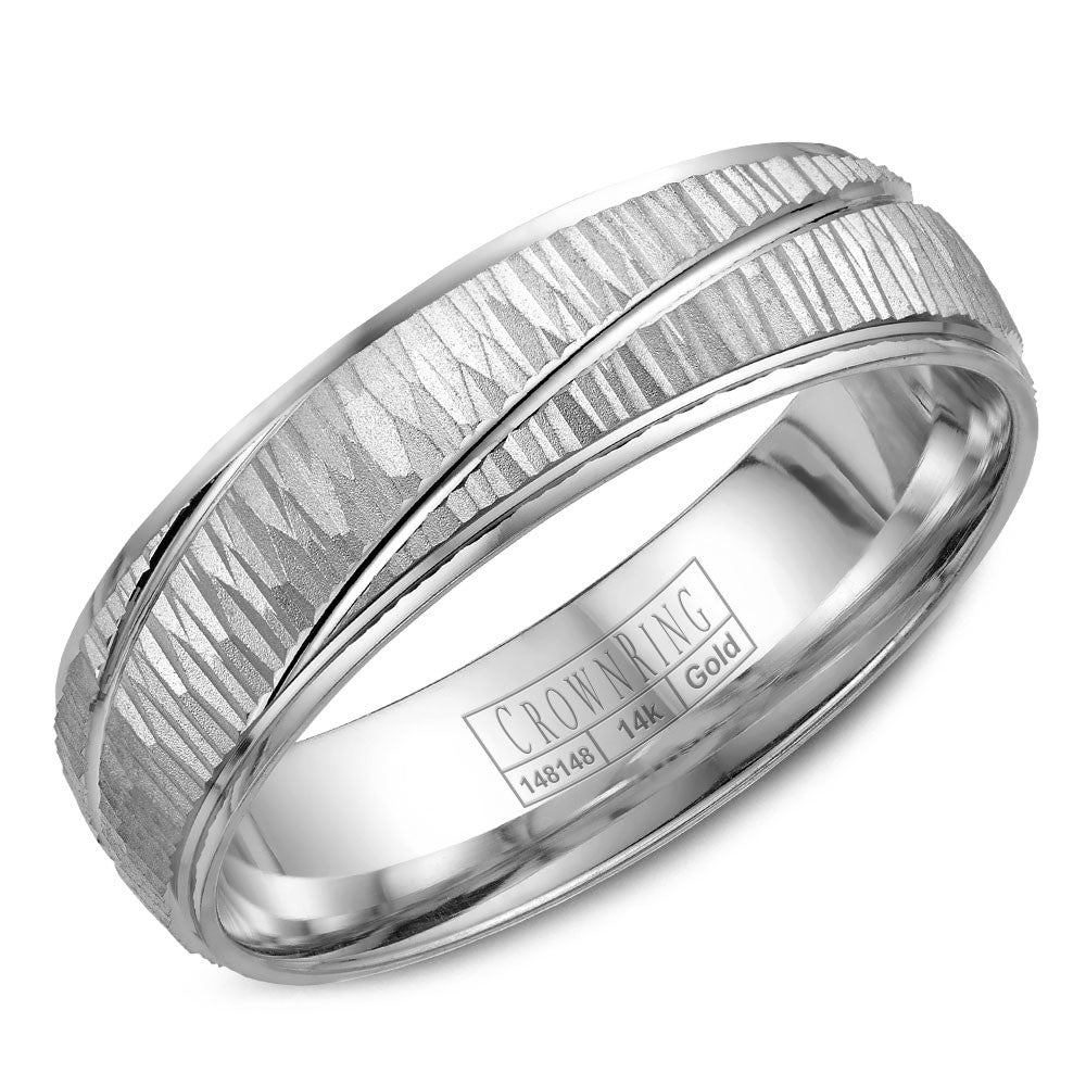 CrownRing Carved Collection 6MM Wedding Band with Barked Center and Line Detailing WB-7936