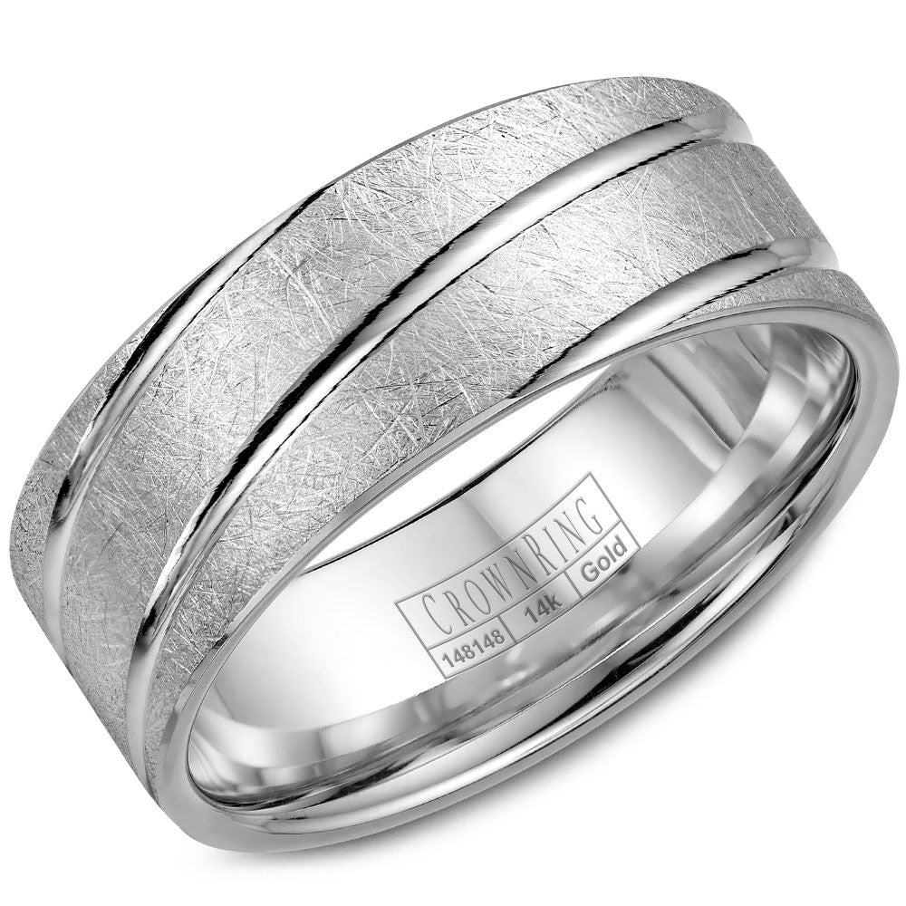 CrownRing Carved Collection 8MM Wedding Band with Textured Center and Line Detailing WB-7937