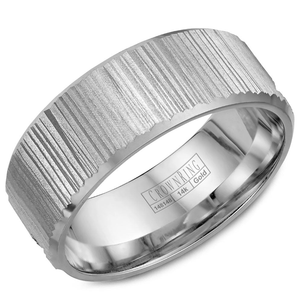 CrownRing Carved Collection 8MM Wedding Band with Bark Finish WB-7971