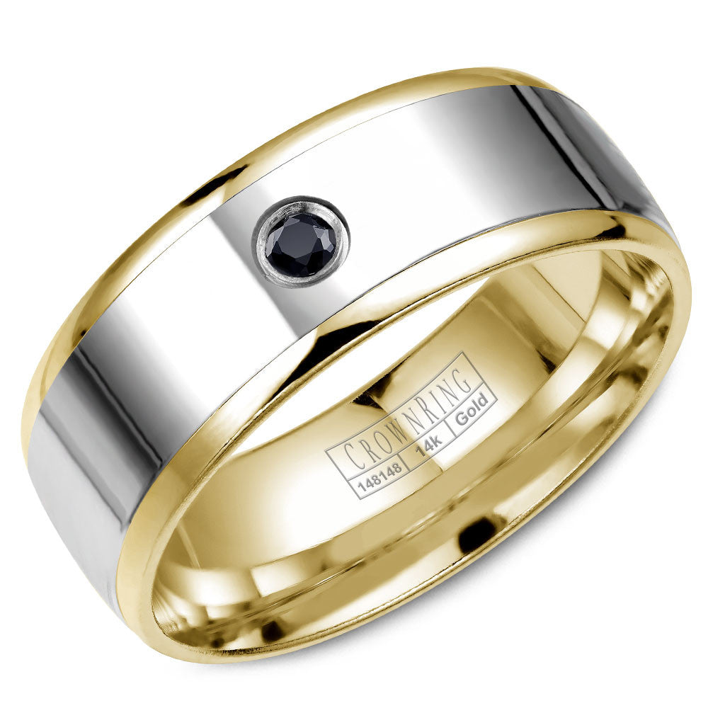 CrownRing Diamond Collection 8MM Yellow Gold Wedding Band and White Gold Center with 1 Round Black Diamond and Brushed Finish WB-7972