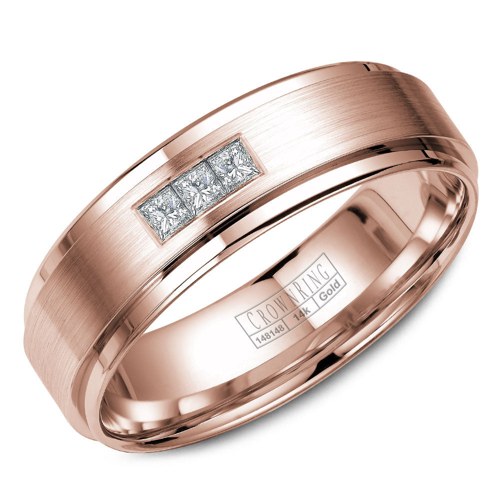 CrownRing Diamond Collection 6MM Rose Wedding Band with 3 Round Diamonds and Brushed Center WB-7973