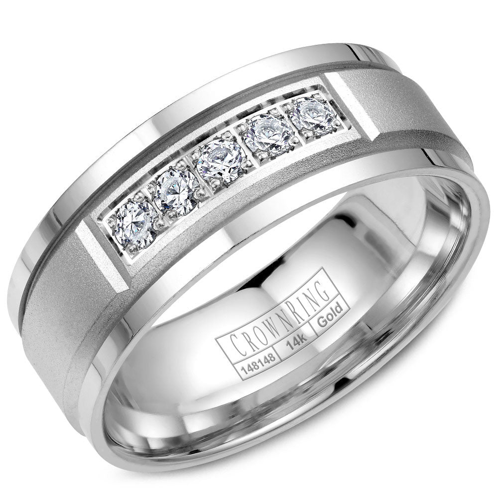 CrownRing Diamond Collection 8MM Wedding Band with 5 Round Diamonds and Sandpaper Center with Line Detailing WB-8038