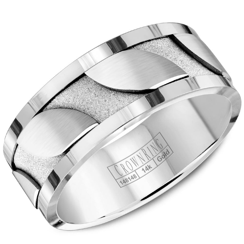 CrownRing Carved Collection 8MM Wedding Band with Brushed Details and Polished Edges WB-8042
