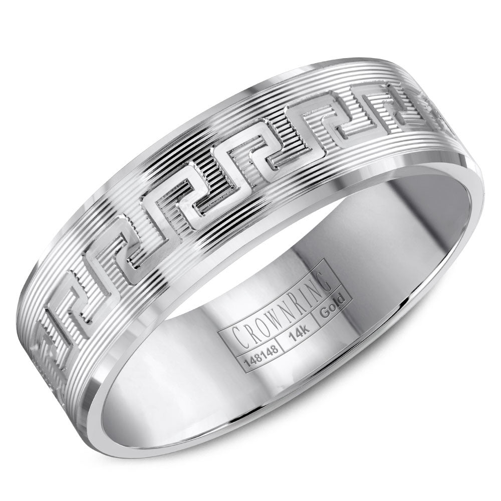 CrownRing Carved Collection 7MM Wedding Band with Highly Textured Finish and Line Details WB-8045
