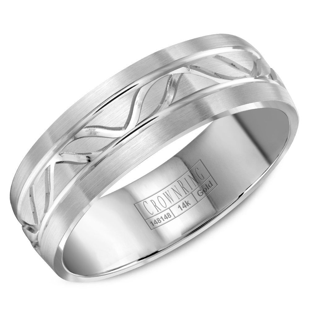 CrownRing Carved Collection 7MM Wedding Band with Line Details WB-8046