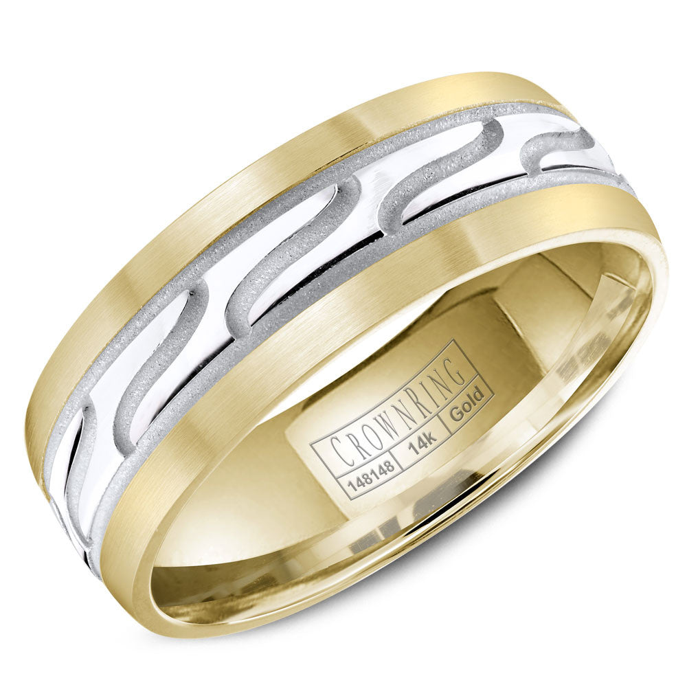 CrownRing Carved Collection 7MM Yellow Gold Wedding Band with Carved White Gold Center WB-8047