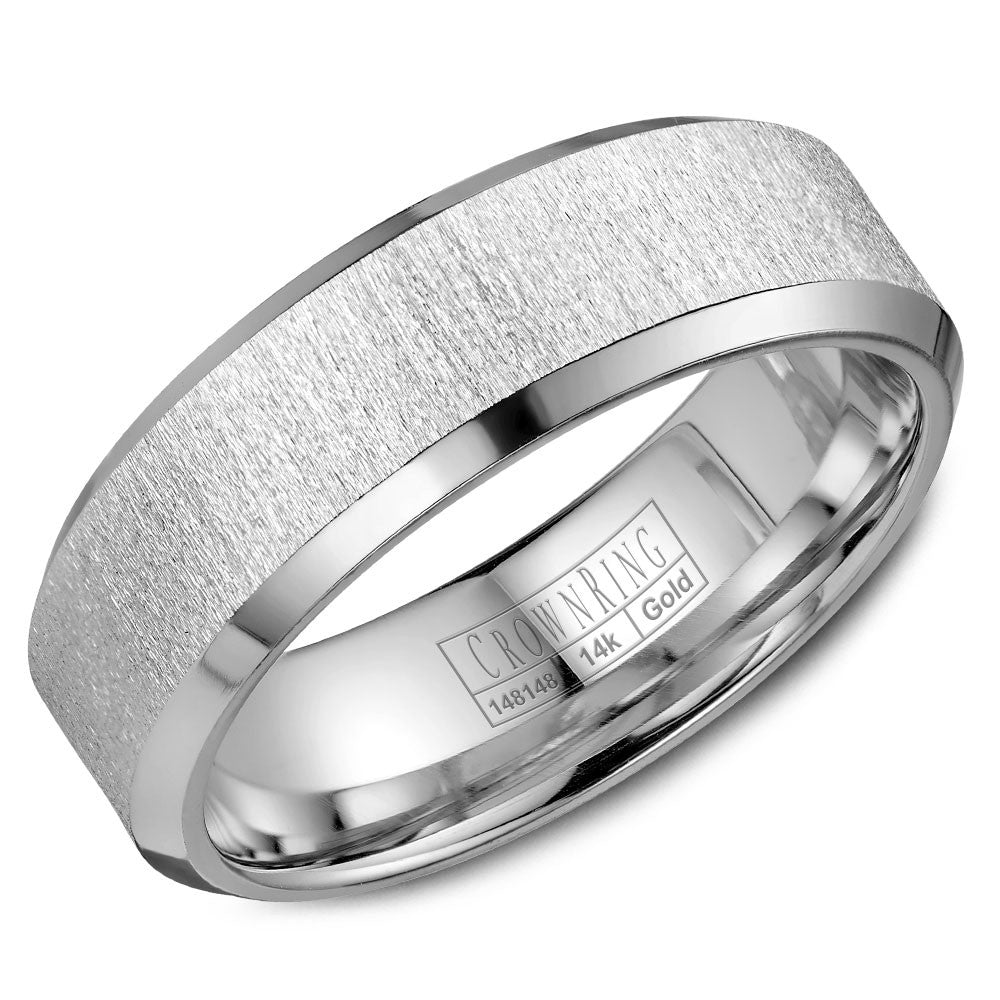 CrownRing Classic Collection 7MM Wedding Band with Sandblast Center WB-8050