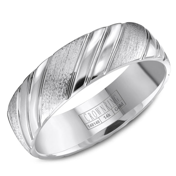 CrownRing Carved Collection 6MM Wedding Band with Carved Pattern Detailing WB-8051