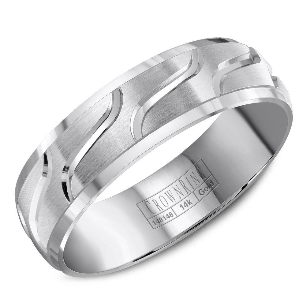 CrownRing Carved Collection 6MM Wedding Band with Brushed Center and Line Detailing WB-8053