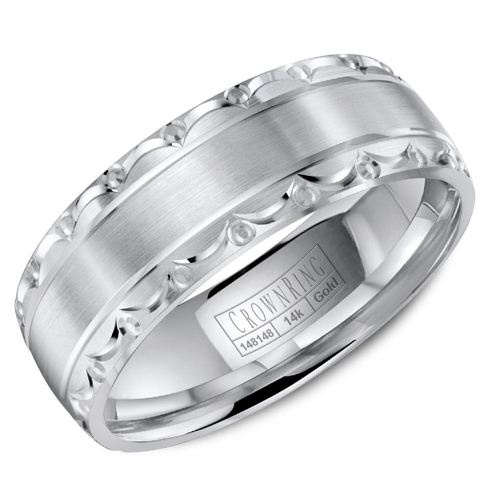 CrownRing Carved Collection 7MM Wedding Band with Brushed Center and Pattern Detailing WB-8057