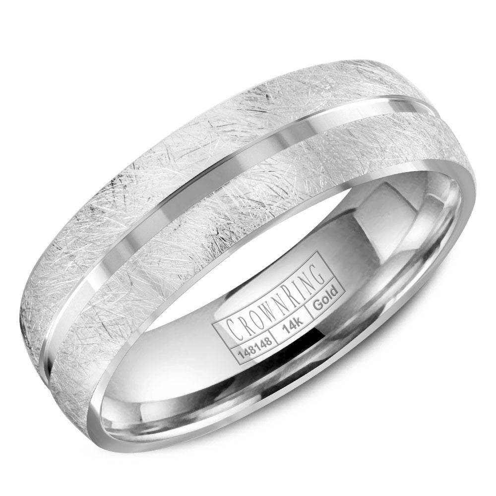 CrownRing Carved Collection 6MM Wedding Band with Diamond Brushed Edges WB-8059