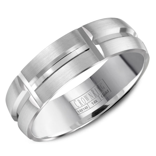 CrownRing Carved Collection 6MM Wedding Band with Brushed Finish and Line Detailing WB-8060