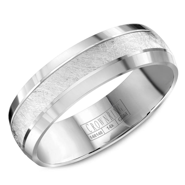 CrownRing Carved Collection 6MM Wedding Band with Textured Center WB-8064