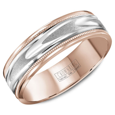 CrownRing Carved Collection 6MM Rose Gold Wedding Band with Patterned White Gold Center and Milgrain Detailing WB-8067WR