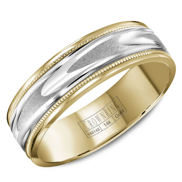 CrownRing Carved Collection 6MM Wedding Band with Pattern Center and Miligrain Detailing WB-8067