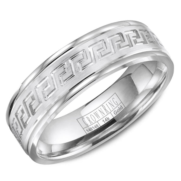 CrownRing Carved Collection 6MM Wedding Band with Textured Finish and Line Detailing WB-8068