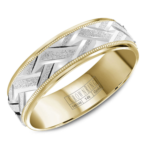 CrownRing Carved Collection 6MM Wedding Band with Textured Center and Miligrain Detailing WB-8071