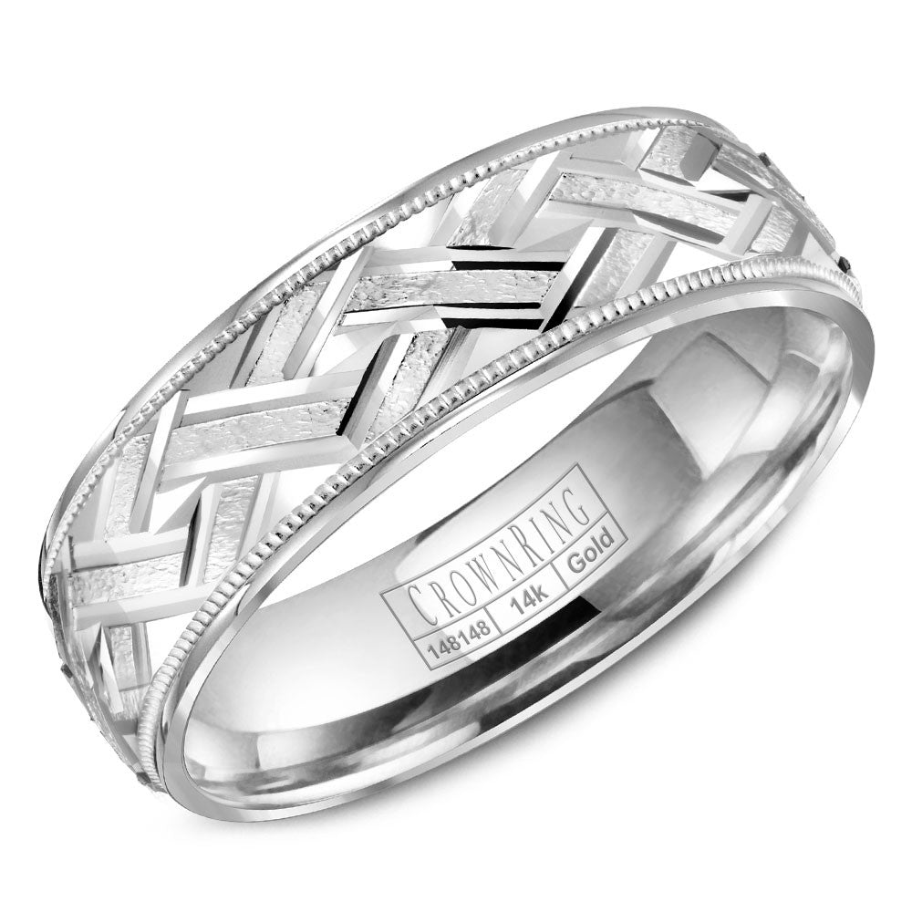 CrownRing Carved Collection 6MM Wedding Band with Textured Center and Milgrain Detailing WB-8073