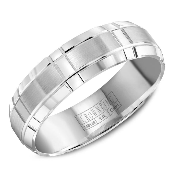 CrownRing Carved Collection 6MM Wedding Band with Brushed Center and Line Detailing WB-8074