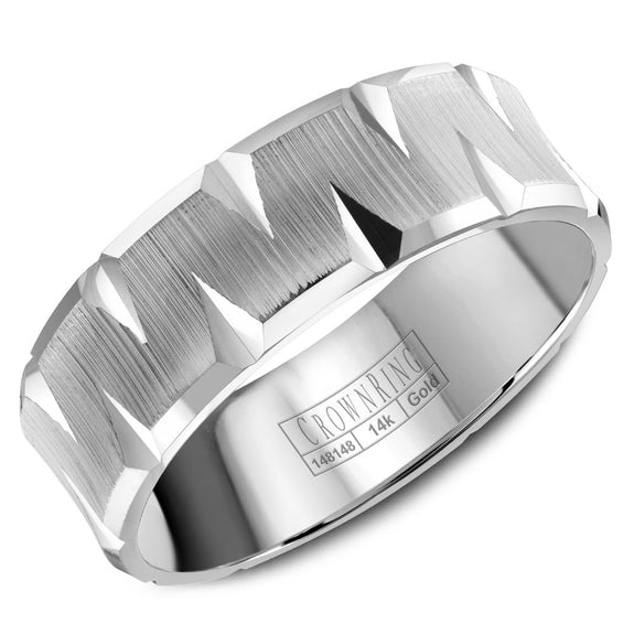 CrownRing Carved Collection 7MM Wedding Band with Textured Center and Carved Detailing WB-8077
