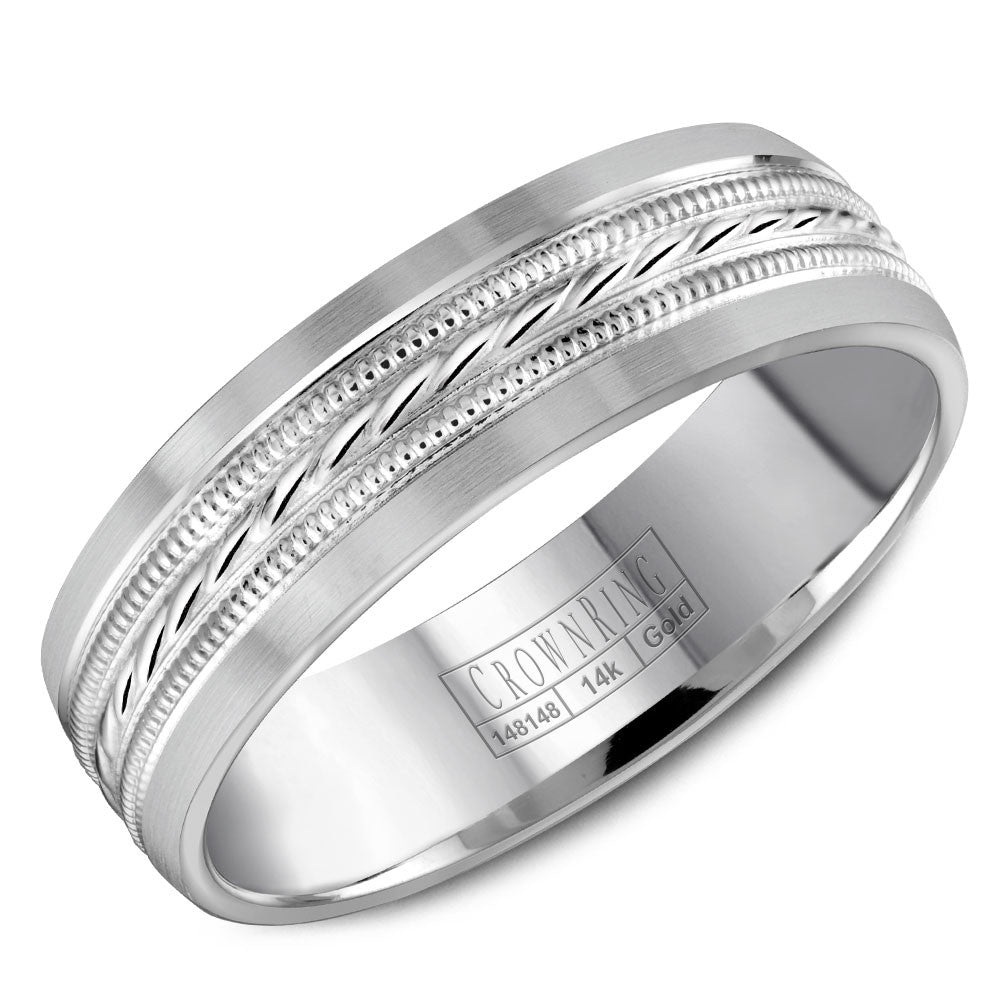 CrownRing Carved Collection 6MM Wedding Band with Milgrain Patterned Center WB-8082