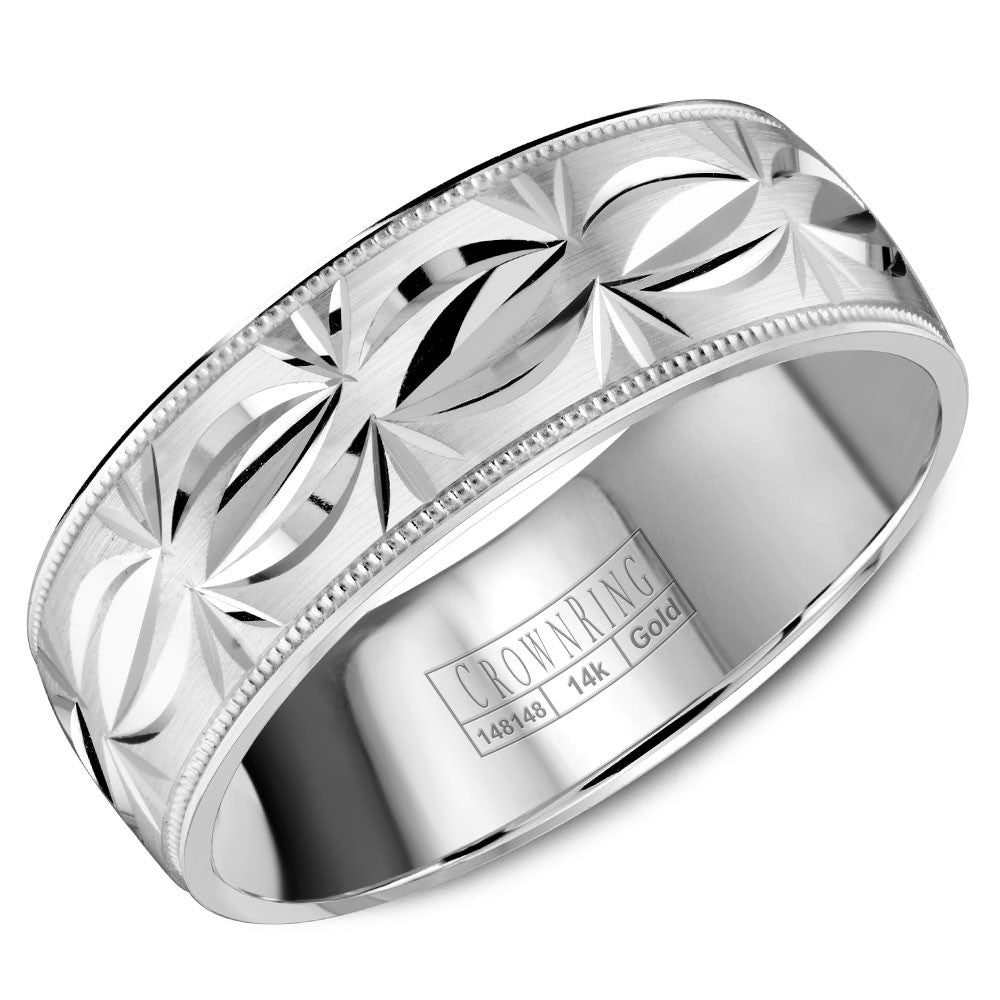 CrownRing Carved Collection 7MM Wedding Band with Patterned Center and Milgrain Detailing WB-8084