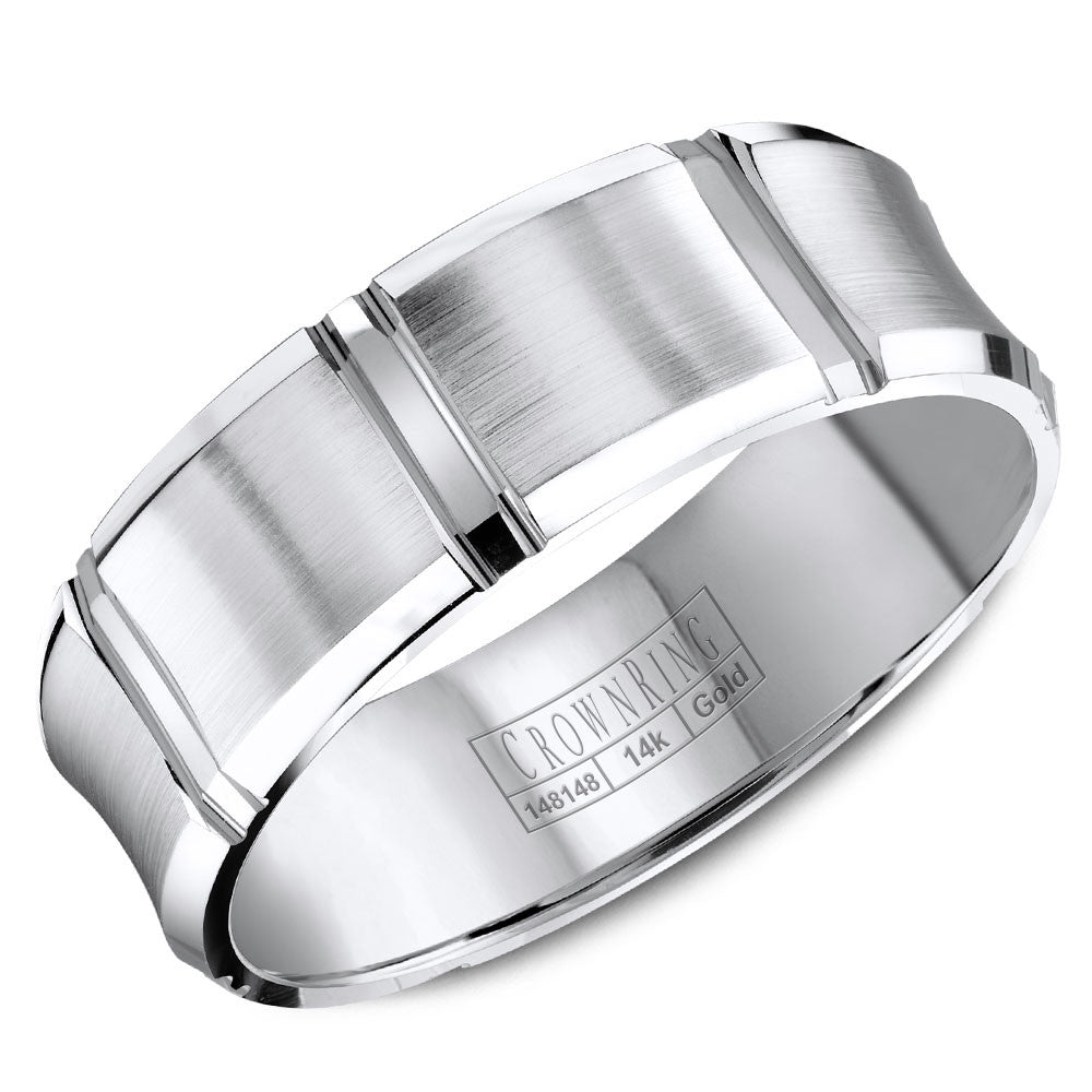 CrownRing Carved Collection 7MM Wedding Band with Brushed Center and Line Detailing WB-8086