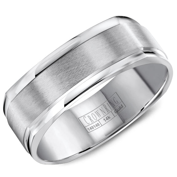 CrownRing Classic Collection 7MM Wedding Band with Brushed Center WB-8091