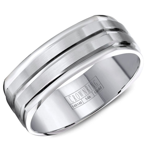 CrownRing Carved Collection 7MM Soft Square Wedding Band with Brushed Center and Line Detailing WB-8092