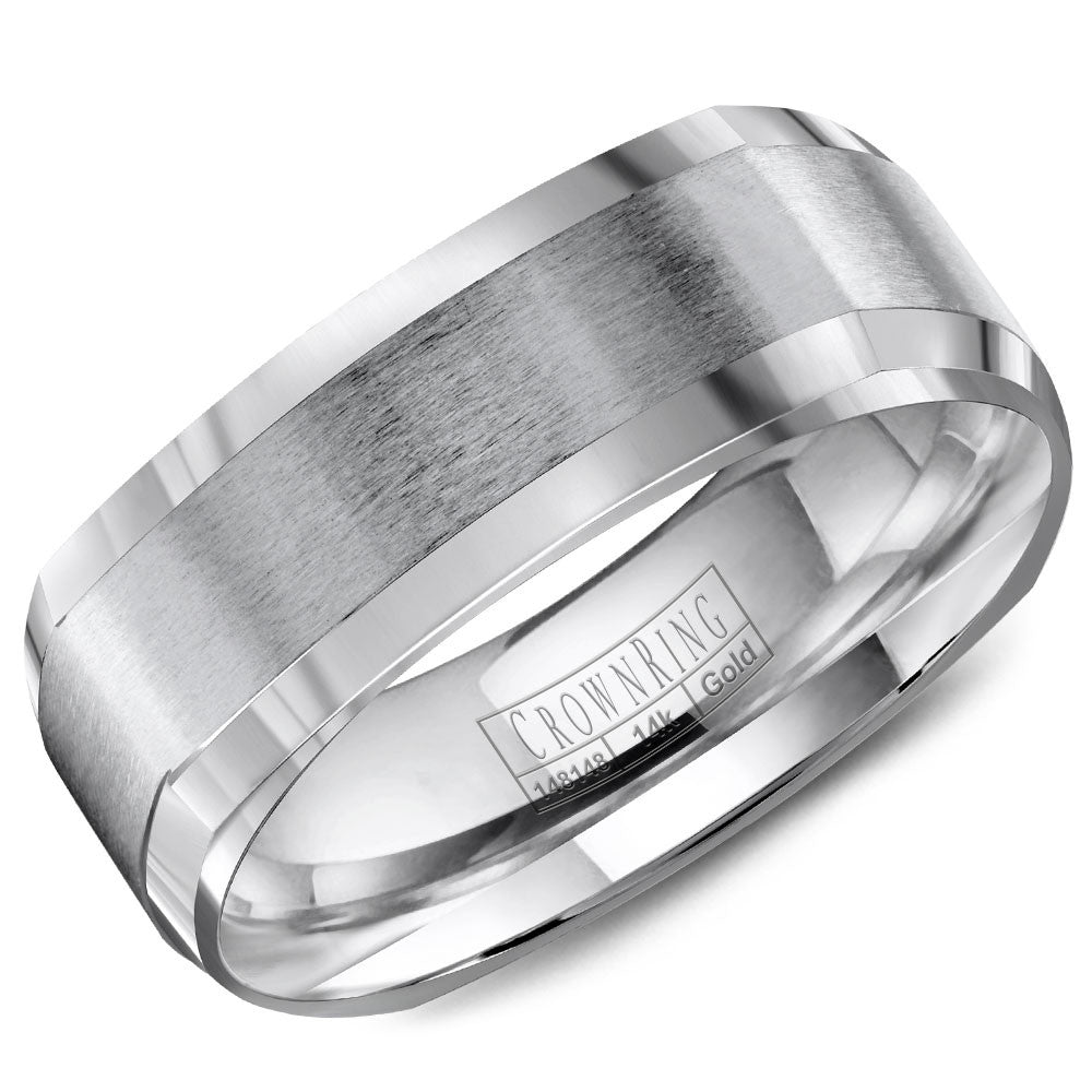 CrownRing Classic Collection 7MM Wedding Band with Brushed Center WB-8093