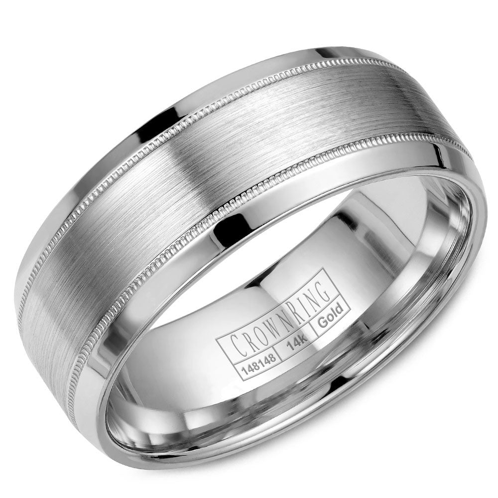 CrownRing Classic Collection 8MM Wedding Band with Brushed Center WB-8108