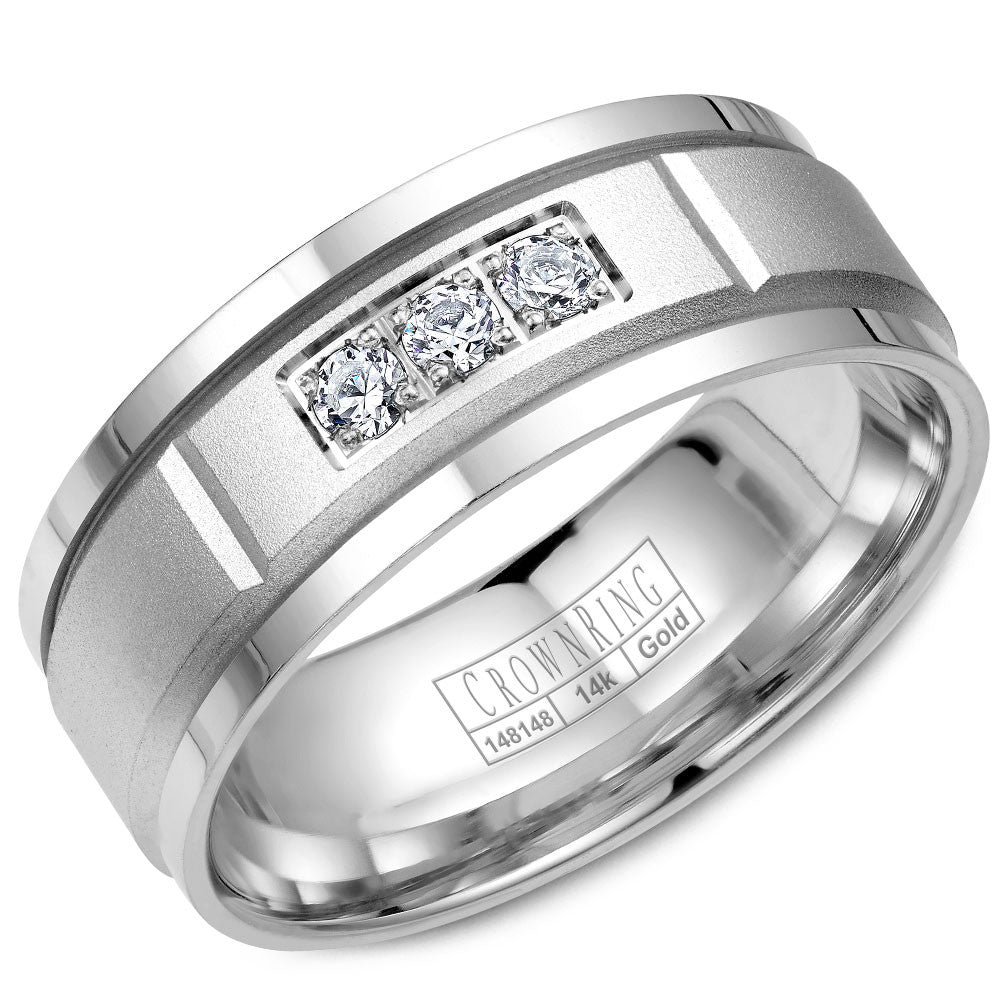 CrownRing Diamond Collection 8MM Wedding Band with 3 Round Diamonds and Sandpaper Center with Line Detailing WB-8200
