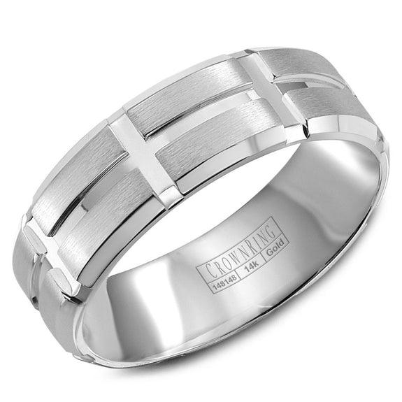 CrownRing Carved Collection 8MM Wedding Band with Brushed Center and Line Detailing WB-8802