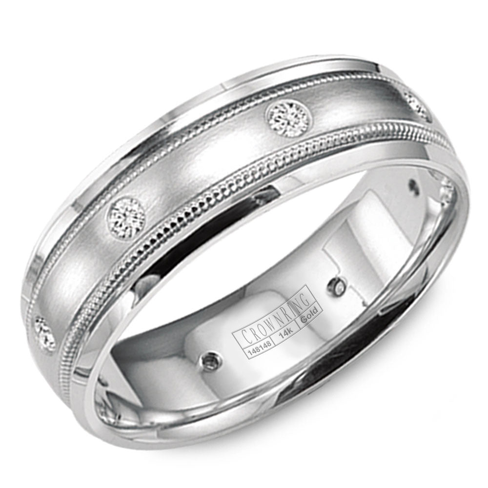 CrownRing Diamond Collection 8MM Wedding Band with 6 Round Diamonds and Brushed Finish with Miligrain Detailing WB-9025