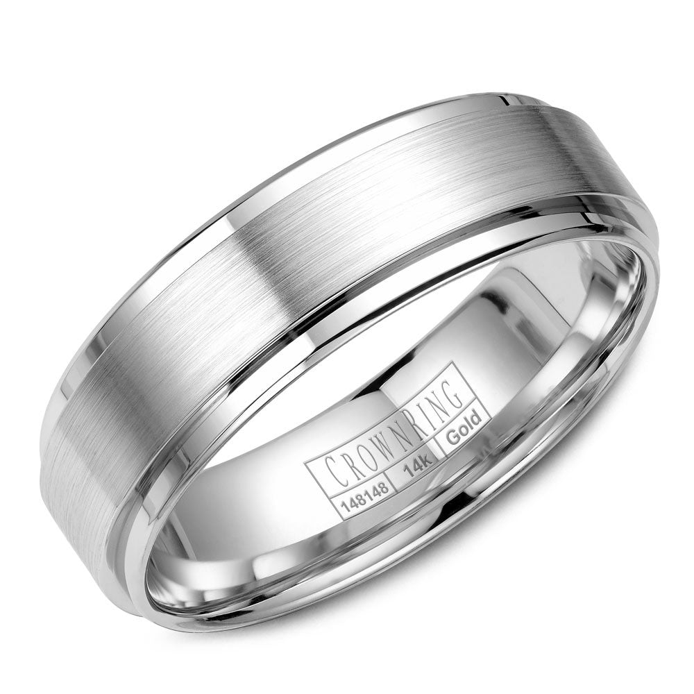 CrownRing Classic Collection 6MM Wedding Band with Brushed Center WB-9034