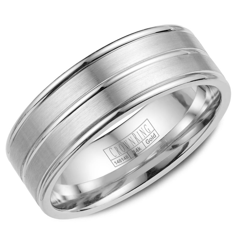 CrownRing Classic Collection 7MM Wedding Band with Brushed Center WB-9049