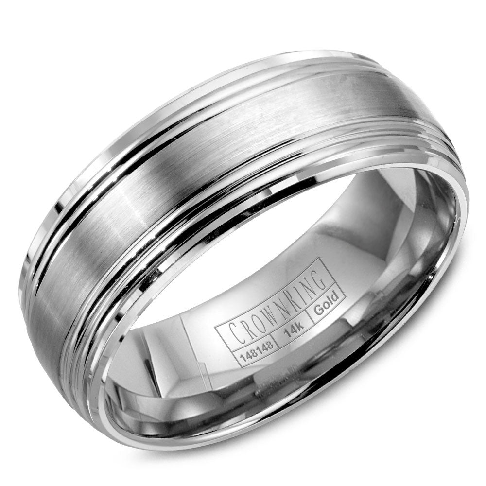 CrownRing Classic Collection 8MM Wedding Band with Brushed Center and Line Detailing WB-9052