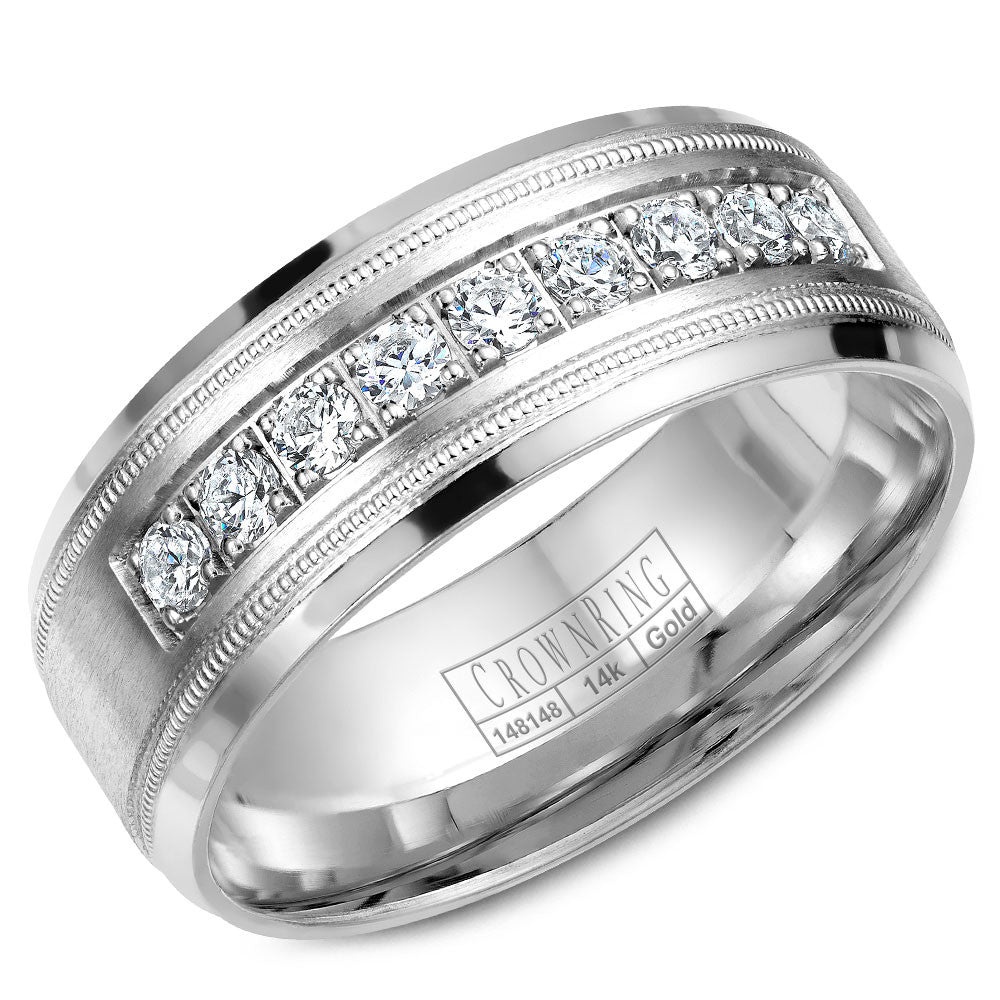 CrownRing Diamond Collection 8MM Wedding Band with 9 Round Diamonds and Miligrain Detailing WB-9083