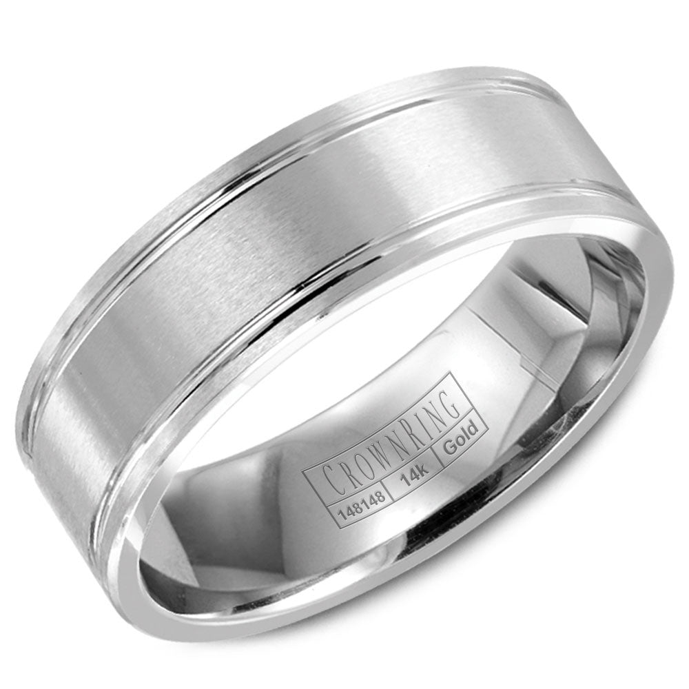 CrownRing Classic Collection 7MM Wedding Band with Brushed Center and Line Detailing WB-9086