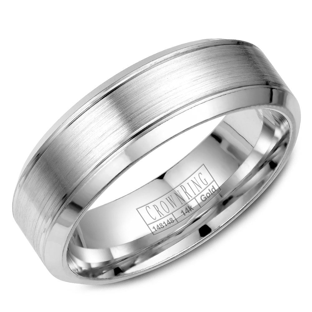 CrownRing Classic Collection 7MM Wedding Band with Brushed Center WB-9089