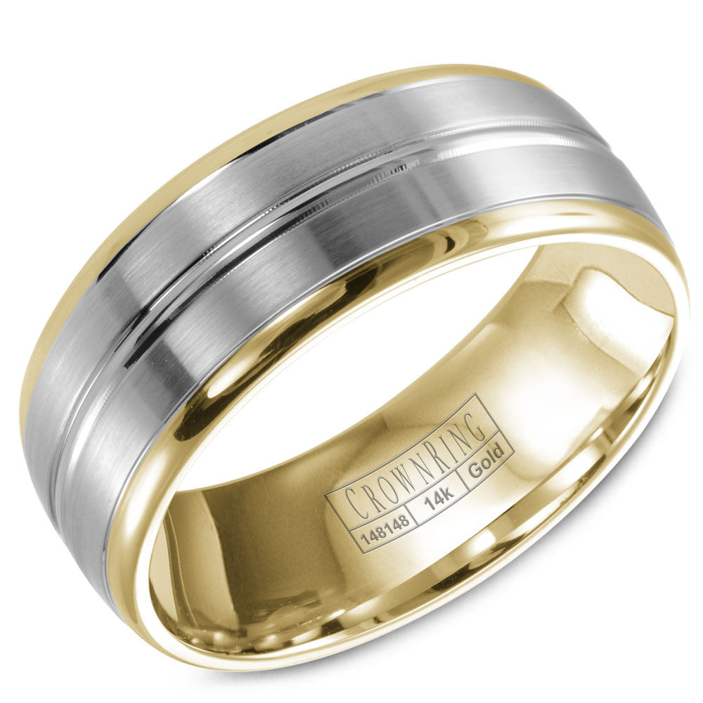 CrownRing Classic Collection 8MM Wedding Band with Brushed Center WB-9093