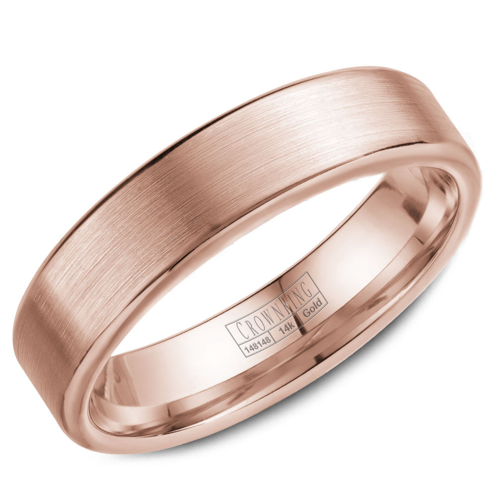 CrownRing Classic Collection 5.5MM Wedding Band with Brushed Center WB-9096R