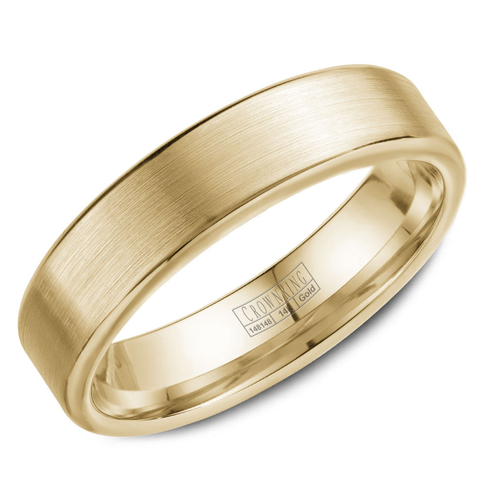 CrownRing Classic Collection 5.5MM Wedding Band with Brushed Finish WB-9096Y